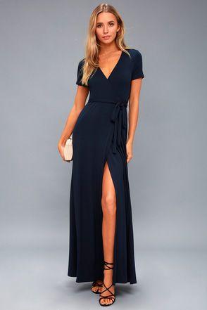 Evolve Navy Blue Wrap Maxi Dress 1 | Maxi wrap dress, Maxi dress .