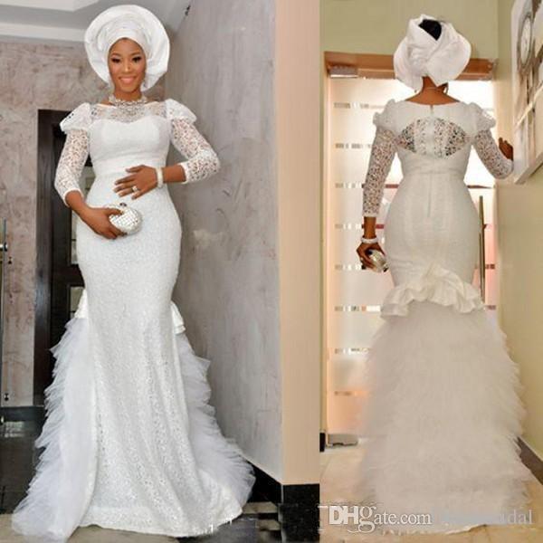 New Arrival Long Sleeves Nigerian Wedding Dresses 2019 Sheer Jewel .