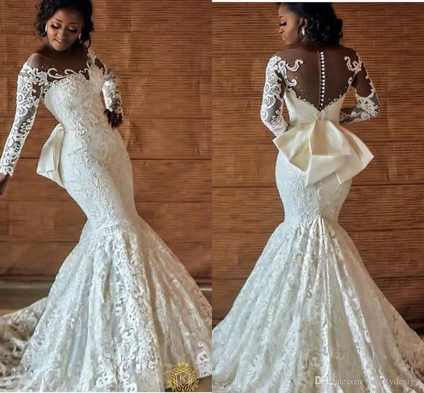 Arabic Nigerian Wedding Dresses Back Bow Beading Long Sleeves .