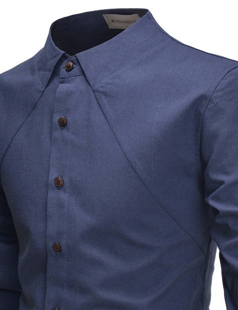 Parker Casual No Collar Shirt | Mens designer shirts, Stylish mens .