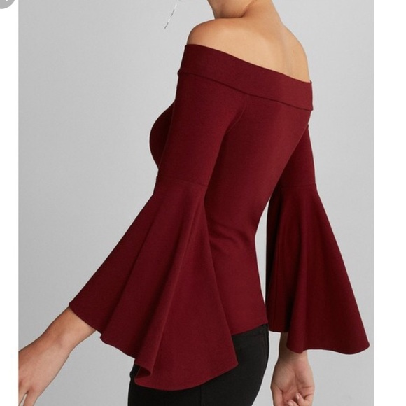 Express Tops | Fitted Off The Shoulder Bell Sleeve Top | Poshma