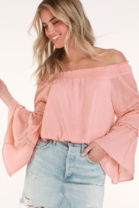 Boho Off-the-Shoulder Top - Blush Pink Top - Bell Sleeve T