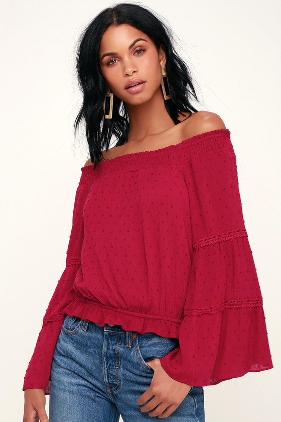Boho Off-the-Shoulder Top - Dark Red Top - Red Bell Sleeve T