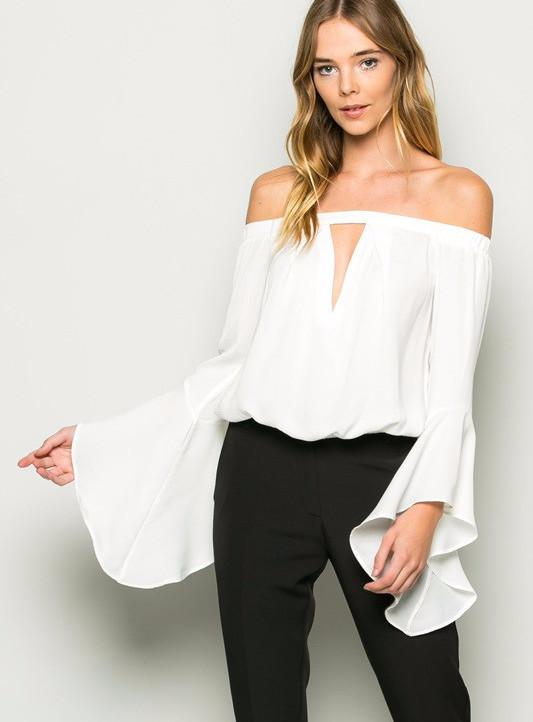 Off Shoulder Bell Sleeve Top – Mickey's Gi