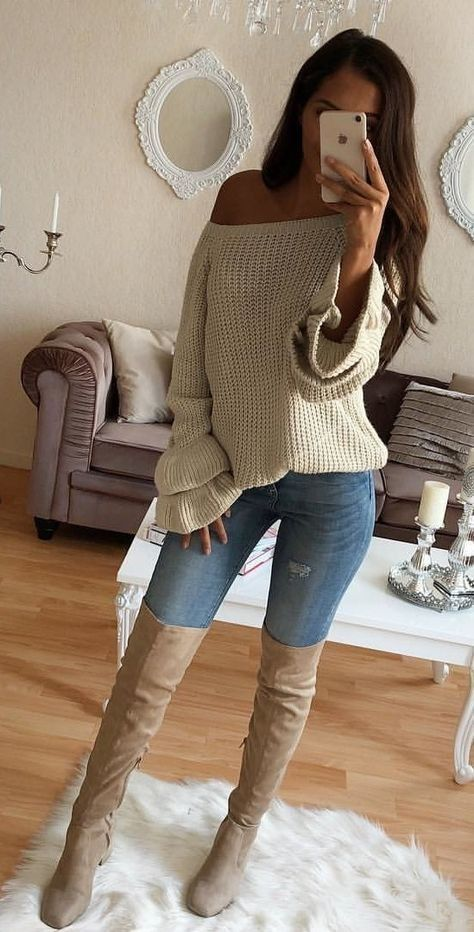 winter #outfits beige knitted off-shoulder sweater #WomenClothing .