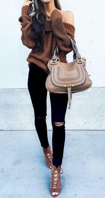 Off shoulder knit sweater with black jeans - fall outfits | Winter .