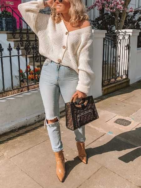 Chunky Oversized Big V Neck Button Up College Sweater For Women in .