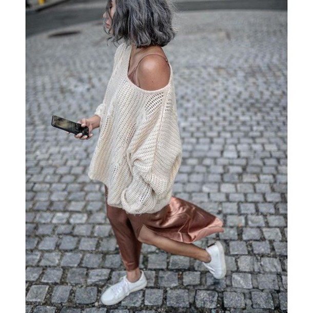 sweater, tumblr, white sweater, dress, maxi dress, slip dress .