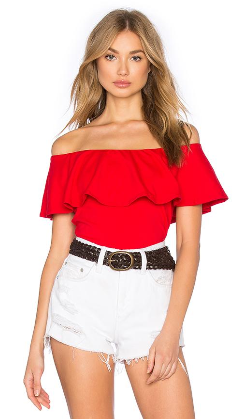 Susana Monaco Ruffle Off Shoulder Top in Perfect Red | REVOL
