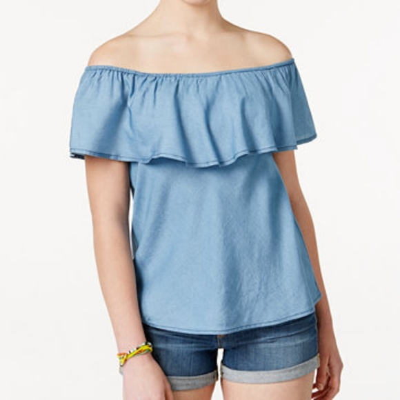 American Rag Tops | Nwt Chambray Off Shoulder Ruffle Top | Poshma
