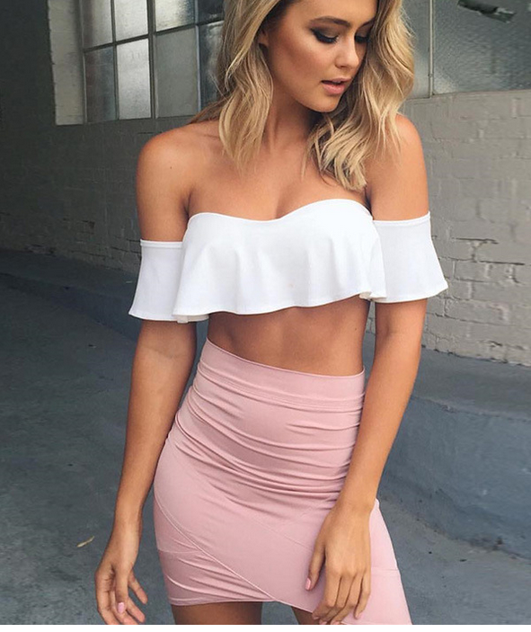 White Off-The-Shoulder Ruffled Crop Top on Luul
