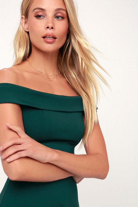 Cute Forest Green Dress - Off-the-Shoulder Dress - Skater Dre