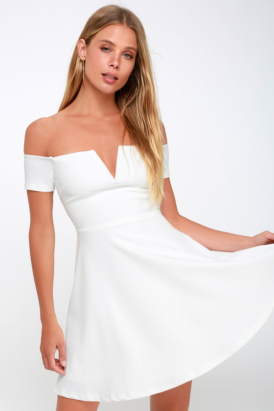 Cute White Dress - Off-the-Shoulder Dress - Skater Dress - L