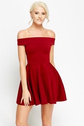 Burgundy Off Shoulder Skater Dress - Just