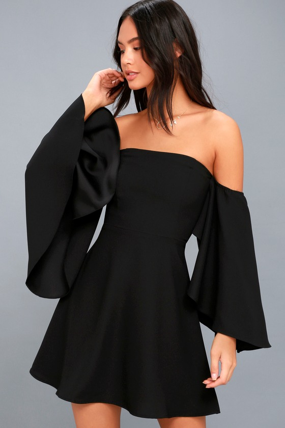 Chic Black Dress - Skater Dress - Statement Sleeve Dre
