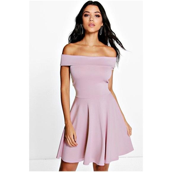 Boohoo Dresses   Lilac Off The Shoulder Skater Dress   Poshma