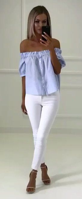Blue striped off the shoulder top with white jeans | Fashion .