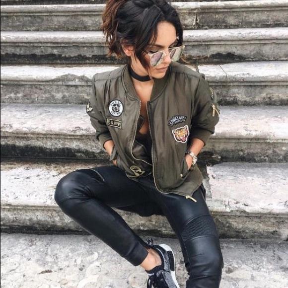 iris Jackets & Coats | Olive Green Bomber Jacket | Poshma