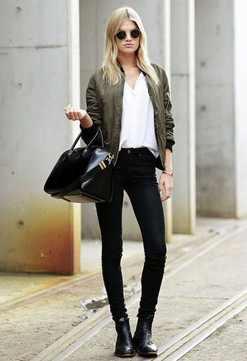 Le Fashion Megan Irwin Olive Bomber Jacket Downtown Cool Fall .