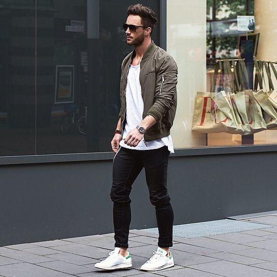 Men's Olive Bomber Jacket, White Crew-neck T-shirt, Black Jeans .