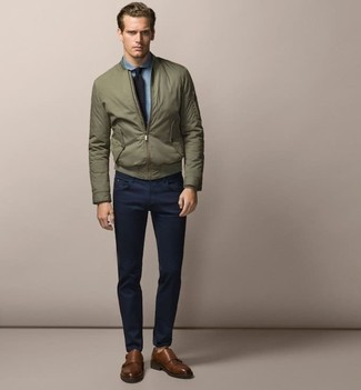 How to Wear an Olive Bomber Jacket For Men (152 looks & outfits .