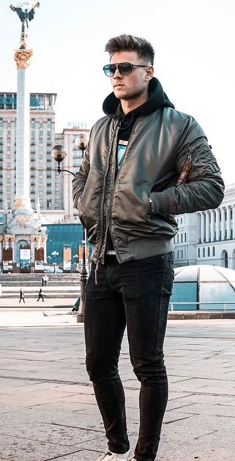 johnnysteger - with a fall streetwear combo with a olive bomber .
