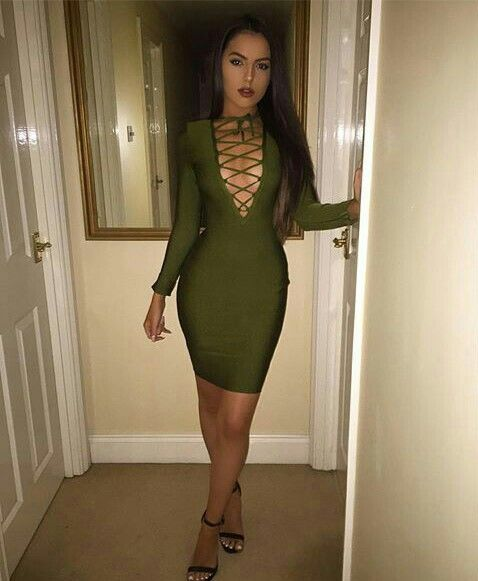 pinterest : @ вσηνtα ☪ | Olive green dress bodycon, Green bodycon .
