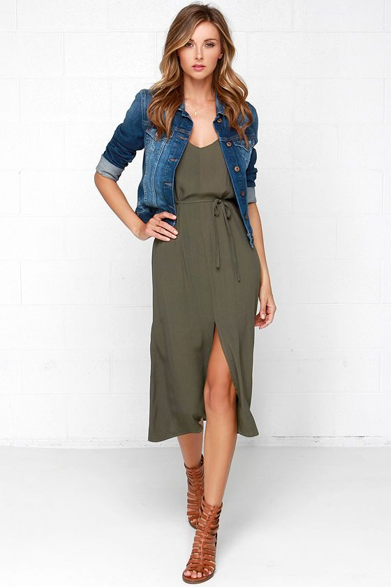 Glamorous One More Tie Olive Green Midi Dress   Green dress outfit .