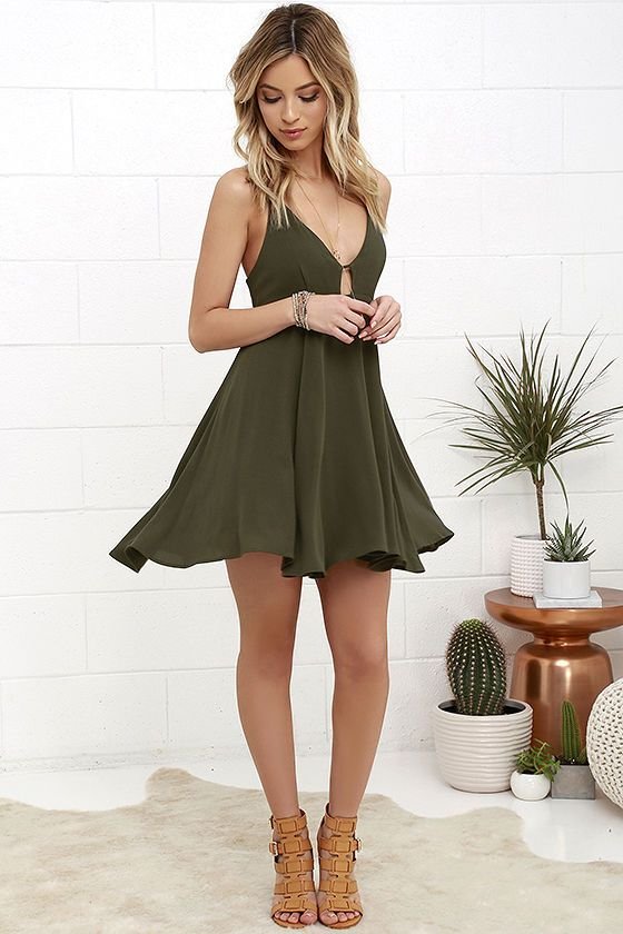 Samana Bay Olive Green Dress | Fashion, Olive green dresses, Green .