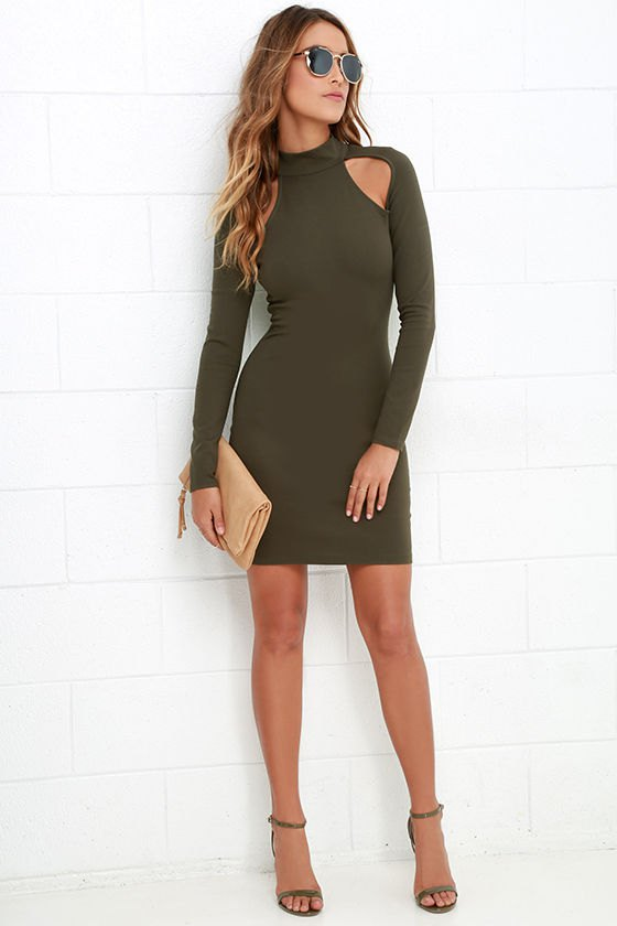 15 Best Olive Green Bodycon Dress Outfit Ideas - FMag.c