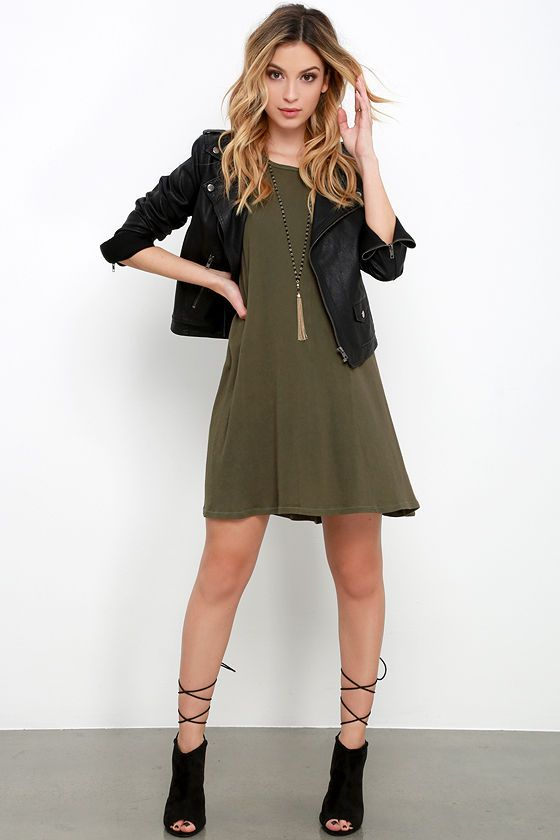Playful Demeanor Olive Green Swing Dress | Olive clothing, Green .