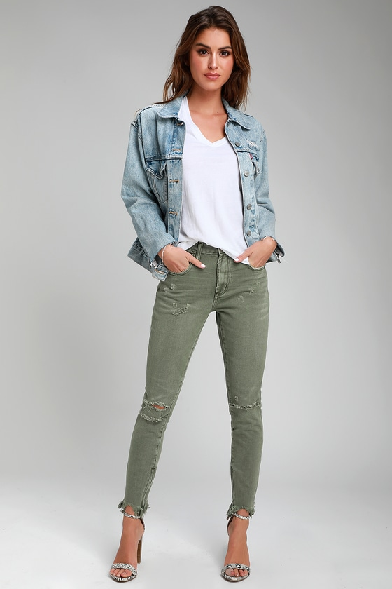 One X One Teaspoon Freebirds - Olive Green Jeans - Skinny Jea