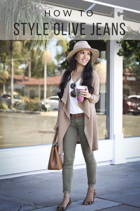 HOW TO WEAR OLIVE JEANS FOR FALL | Outfits with hats, Olive jeans .