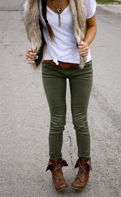 Olive green pants. Clothes Outift for • teens • movies • girls .