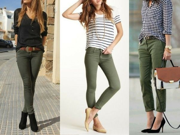 Image result for khaki pants women outfit ideas | Green pants .