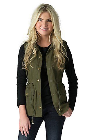 PPLA Clothing Women's Olive Sleeveless Vest | Cavender's | Green .