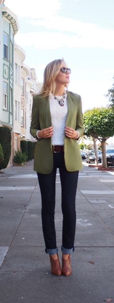 14 Best Olive Green Blazer images | Olive green blazer, Autumn .