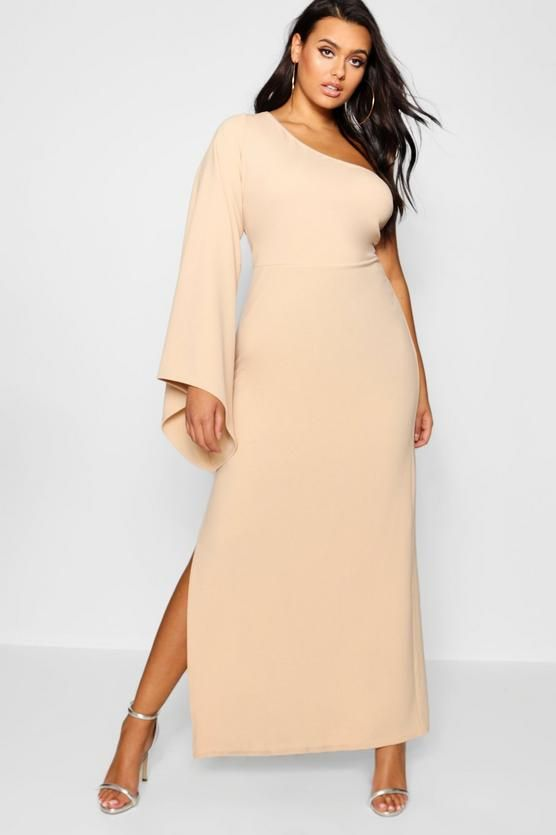 Plus One Shoulder Flare Sleeve Maxi Dress | boohoo | Maxi dress .