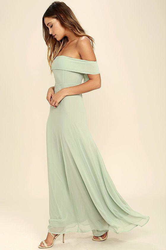 Perfectly Poised Sage Green Off-the-Shoulder Maxi Dress | Green .
