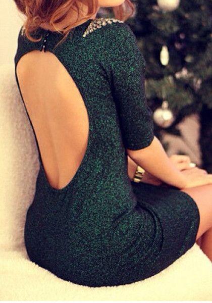 Green Beaded Backless Dress - Sizzling Hot Open Back Dress .