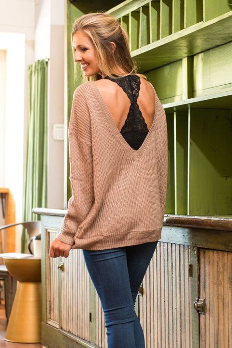 ls Trendy open back sweater is adorable. It's the perfect showcase .