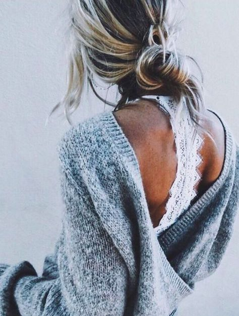open back sweater and lace bralette | Fashion, Style, Cute outfi
