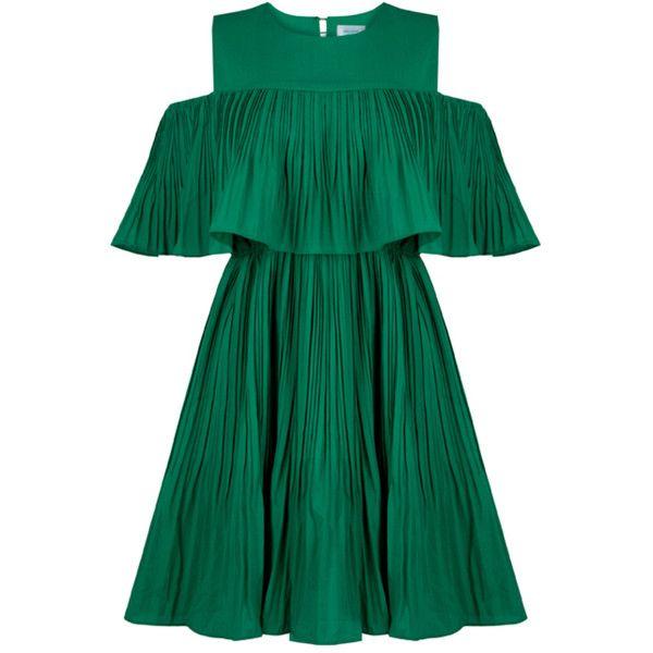 Vera Green Cold Shoulder Dress ($84) ❤ liked on Polyvore .
