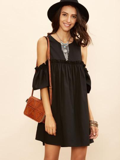 black trendy cold shoulder dress, babydoll dress, ruffle sleeve .