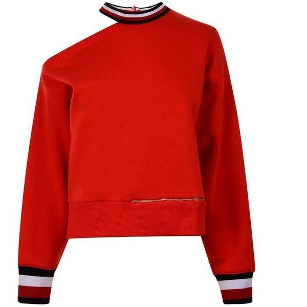 Tommy X Gigi Open Shoulder Sweatshirt ($160) ❤ liked on Polyvore .