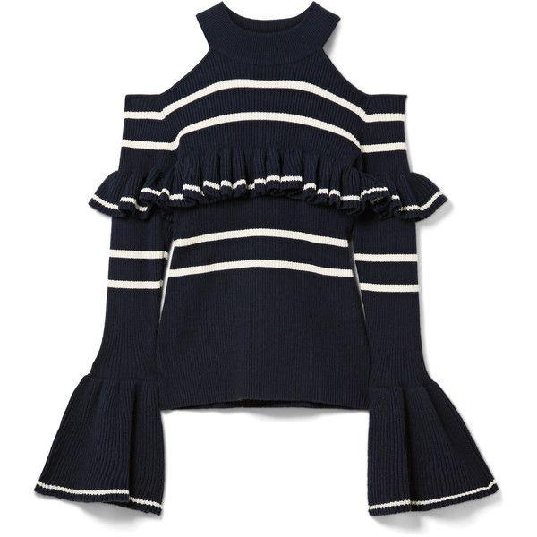 Self-Portrait Cold-shoulder striped cotton-blend sweater ($340 .