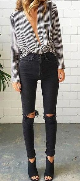striped blouse + black ripped skinny jeans. heeled peep toe ankle .