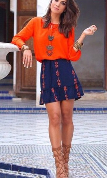 dress, orange dress, navy, blue dress, patterned dress, summer .