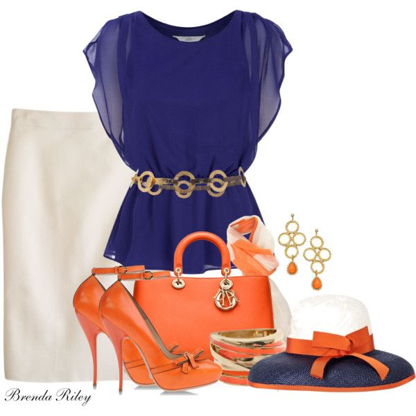 Orange and Blue | Brunch outfit, Orange dress outfits, Fashi