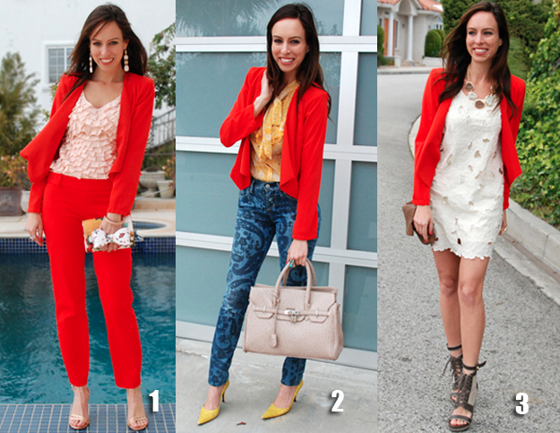 How to wear a cropped Orange Blazer different ways outfit ideas .